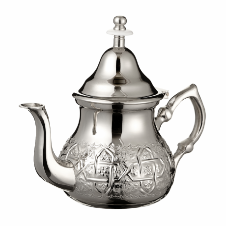 Moroccan Silver Teapot Integrated Filter & Free Handle Cover Engraved MEDIUM 500 ml